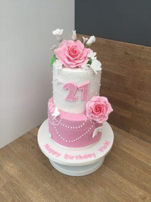 21st Rose bithday cake