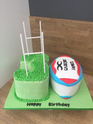 30th rugby ball Birthday Number cake