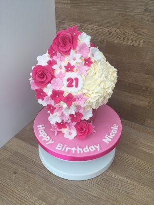 Large Cupcake Pink Rose design