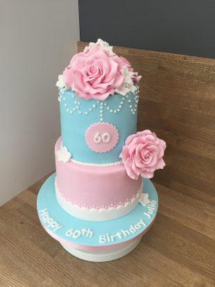 Classy Rose 60th Birthday cake