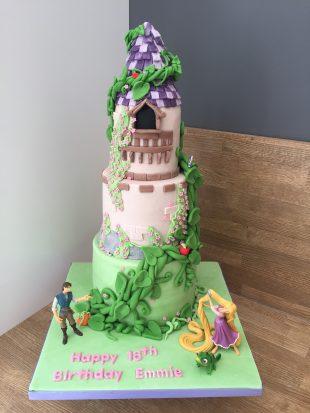3 Tier Rapunzel castle birthday cake