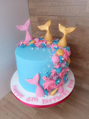Mermaid theme buttercream 6th Birthday cake